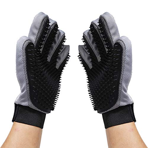 Merauno Fellpflegehandschuh zur Haarentfernung Katzenbürste Enthaarungsbürste Fellbürste für Hund-Katze-Haar Massageset für Hund und Katze...
