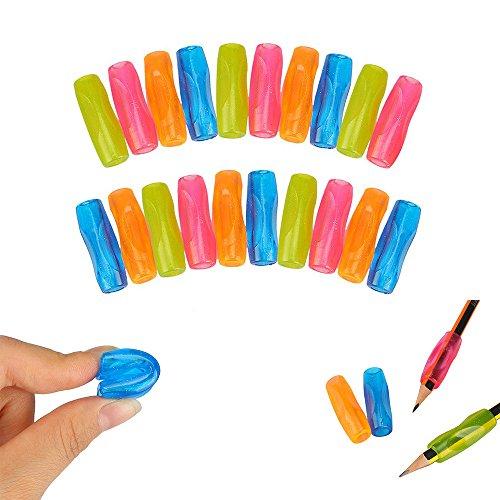 Shulaner Pencil Grips - Ayuda para una escritura ergonómica para zurdos y diestros, para una escritura a mano y un control del dibujo excelentes - 24 Piezas