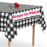 Stay-in-Place Black Checkered Plastic Tablecloth - Secures to The Table with Adhesive - Windproof Disposable Tablecloths 5 Pack 54 x 108 inch. Rectangle Plastic Table Cover by Swanoo