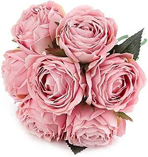 Kimura's Cabin Artificial Flowers Fake Silk Rose Flower Bouquet Floral Plants Decor for Home Garden Wedding Party Decor Decoration (Light Pink)