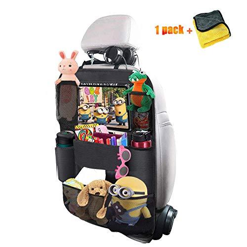 yucho Auto Rückenlehnenschutz, 1 Stück Auto Rücksitz-Organizer für Kinder mit Große Taschen und iPad Tablet Fach Wasserdicht Autositzschoner Kick-Matten-Schutz für Autositze
