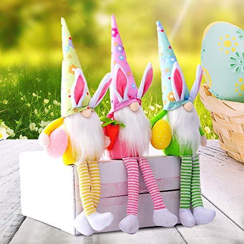 Hilif Gnomi di Pasqua in peluche lavorato a maglia a forma di coniglio pasquale Gonk pasquale Elfo decorazione da tavolo decorazione domestica senza volto per bambole regali decorazioni da tavolo