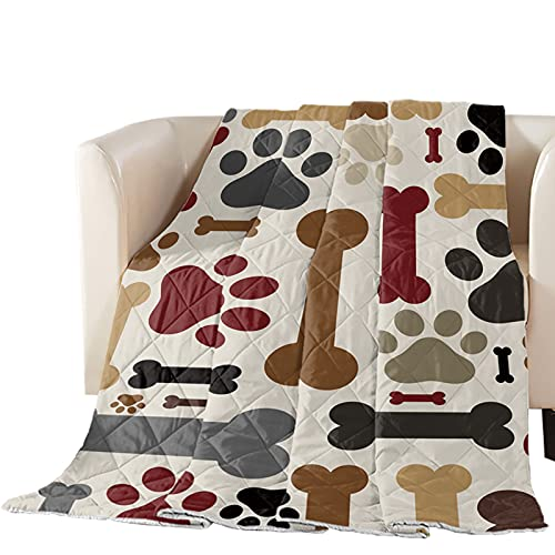 Big buy store Thin Comforter Bedspread Throw Blanket Dog Paws Bones Pet Animal Lightweight Reversible Bedding Quilt Red Brown Black Quilted Coverlet for Couch Sofa Living Room 64x88 inch (Twin)