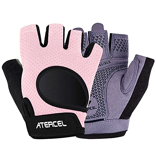 Atercel Weight Lifting Gloves 2021 Upraded Full Palm Protection, Best Workout Gloves for Gym, Cycling, Exercise, Breathable, Super Lightweight for Mens and Women (Pink, M)