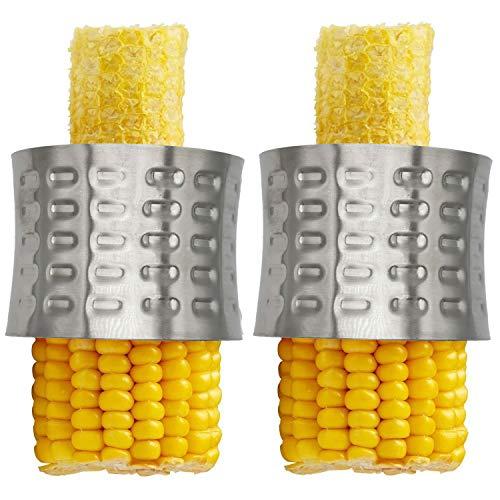 Amestar 2 Pack Stainless Steel Corn Stripping Tool,Corn Stripper,Stainless Steel Corn Kernel Cutter Peeler,Slicer,Cutter,Remover,Corn Zipper Serrated Blade with Non-Slip Grip