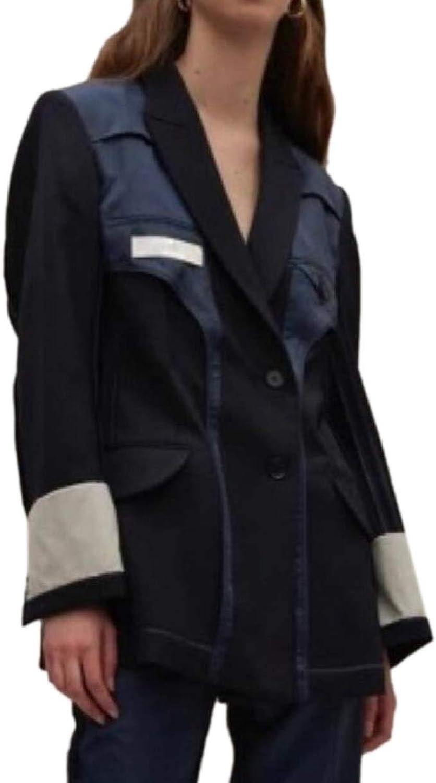 LEISHOP Womens Blazer Jacket Button Long Sleeve Patchwork Suit Top Coat