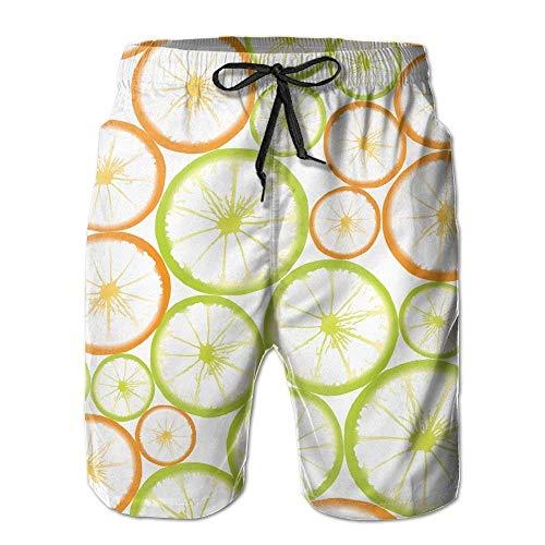 ZQHRS Shorts de Playa de Secado rápido Patrón de rodajas de limón y Fruta Troncos de Surf Pantalones de Surf con Bolsillos para Hombres Talla M