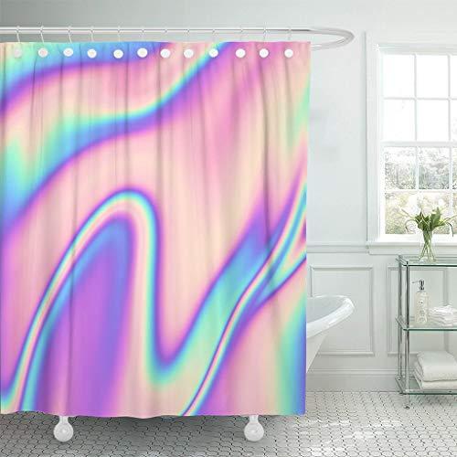 JOOCAR Design-Duschvorhang, abstrakt, holografisch, 80er-/90er-Jahre, bunt, in Pastell-Neonfarbe, wasserdichter Stoff, Badezimmer-Dekor-Set mit Haken