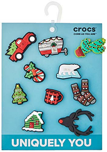 Crocs Holiday 10 Pack Shoe Charms, Multicolor, One Size