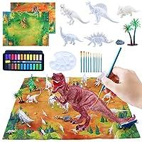 TE SIER Paint Your Own Dinosaur コンプリートキット 子供用 5歳以上 大型恐竜 12x7x5 ベビー恐竜 24色ペイントセット パレット2枚 プロフェッショナルブラシセット 背景キャンバス2枚 20x27インチ