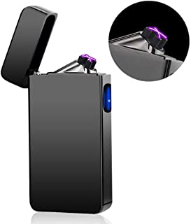 Dual Arc Plasma Lighter USB Rechargeable Windproof Flameless Butane Free Electric Lighter for Cigar,Cigarette,Candle (Black)