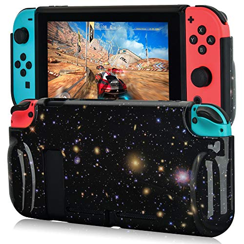 CAGOS Case for Nintendo Switch, Hard Shell TPU Grip Protective Cover Skin with Shock-Absorption and Anti-Scratch Design for Nintendo Switch Console and Joy-Con Controller (Galaxy)