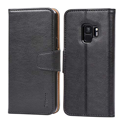 Migeec Handyhülle Kompatibel mit Samsung Galaxy S9 Leder Hülle Tasche Flip Cover Schutzhülle - Schwarz