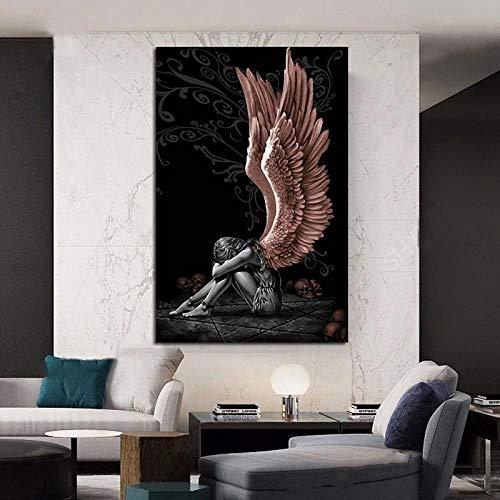 YDS Cuadros Decorativos Pintura de Diablo y ángel, Carteles de Calavera con alas de Personaje Gris e Impresiones en Lienzo, Pintura de decoración del hogar, Pintura de póster para Sala de Estar