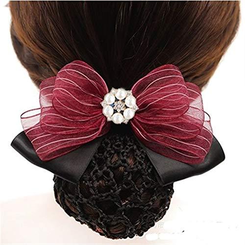 YUNGYE Mode Main Bureau Lady Lace Bow Tie Barrette Barrette Couverture Bowknot Net Bun Profonde Snood for Les Cheveux Longs Cheveux Accestory (Color :