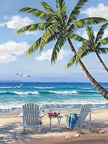 DIY Ocean 5D Diamond Painting Kits, Full Drill Painting Kits Rhinestone Diamond Painting Kits for Adults Wall Painting Decoration Ocean Beach Blue Sky Diamond Art 12x16 Inches