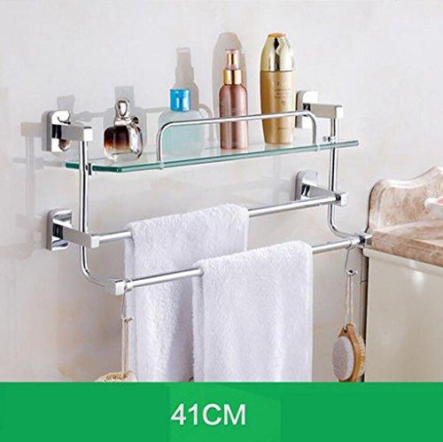 Salle de bain étagère en verre, étagère de salle de bain, WC Salle de bain Salle de bain étagère Verre Double, serviette de toilette Étagère (taille : 41cm)