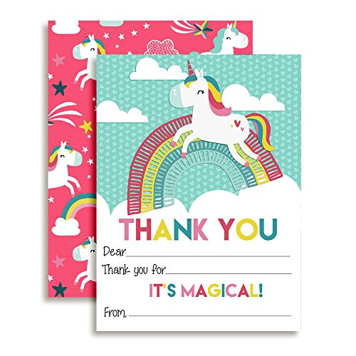 """Dancing Unicorn Thank You Notes for Kids, Ten 4"""" x 5.5"""" Fill In The Blank Cards with 10 White Envelopes by AmandaCreation"""