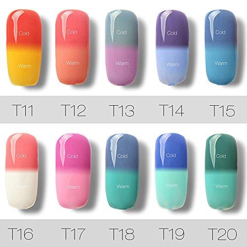 10 Colores de la Esmaltes Cambia Color Temperatura de Uñas en Gel Semipermanente Baratos por ESAILQ A