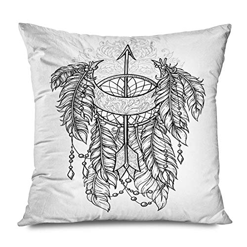 Throw Pillow Cover Square 18'x18' Beautiful Dream Catcher Feathers Arrow Amulet Feather Drawing Archery Arrowhead Aztec Modern Bird Decorative Zippered Pillowcase Home Decor Cushion Case 16' X 16'(IN)