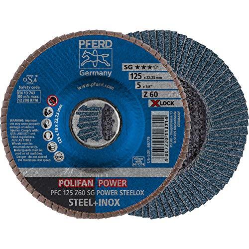 PFERD Fächerscheibe POLIFAN POWER, 10 Stück, 125mm, Z60, X-LOCK (22,23 mm), SG STEELOX, 67786126 – für höchste Wirtschaftlichkeit durch aggressive Zerspanung