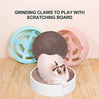 Elibeauty Griffoir Rond en Carton Résistant Aux Rayures pour Chat Ovale et Recyclable (blanc)