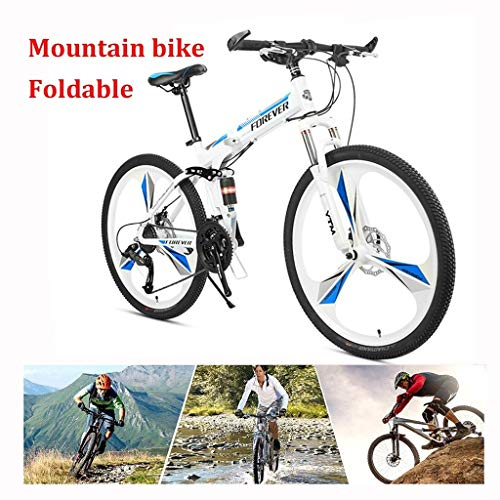 Adult Mountain Bike, 26 Inch Wheels, Mountain Trail Bike High Carbon Steel Folding Outroad Bicycles, 24/27-Speed Bicycle Full Suspension MTB ​​Gears Dual Disc Brakes Mountain Bicycle
