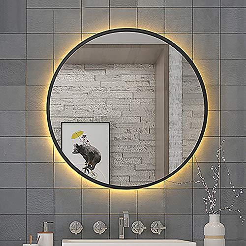 GETZ Specchio da Bagno Rotondo a LED Illuminato, Specchio per Trucco Retroilluminato, Antipolvere, Impermeabile IP44, Struttura in Metallo, Luce Calda/Luce Bianca