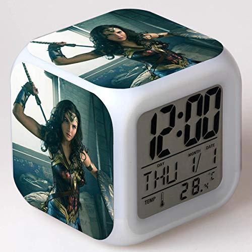 xiaohuhu Wonder Woman Princess Diana LED Siete Colores Creative Mood Alarm Clock Regalos para niños