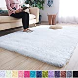 Noahas Super Soft Modern Shag Area Rugs Fluffy Living Room Carpet Comfy Bedroom Home Decorate Floor Kids Playing Mat 4 Feet by 5.3 Feet, White