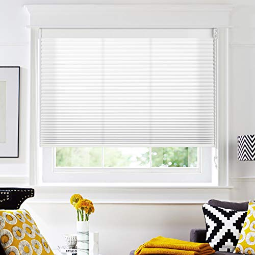 Keego Light Filtering Cellular Shades with Cord, Custom Size Window Blinds and Shades, White, 53