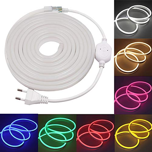 XUNATA 3m Flexible LED Neon lights Amarillo, Resistente al Agua 220V smd 2835 Tiras de LED, Líneas de Cables Luminoso Exterior para Fiestas y Decoración