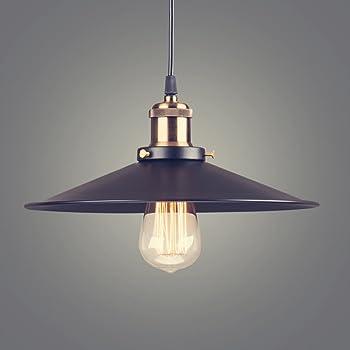 YNXing Industrial, estilo retro país de América lámpara de techo colgante para restaurante bar cafe cup-shaped colgante lámpara, color negro, Antiguo, Negro (black Iron) (36cm)