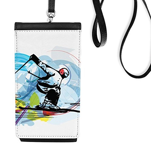 Winter Sport Synchronisée Ski Sports Athletes Freestyle Ski Aquarelle Sketch Illustration Simili Cuir Smartphone à Suspendre Purse Noir Phone Wallet