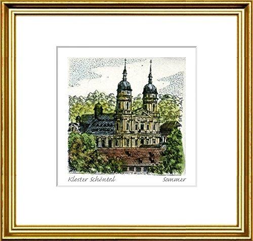 Kunstverlag Christoph Falk Handkolorierte Radierung Kloster Schöntal im Rahmen Goldkehle hinter Passepartout