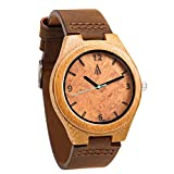 Treehut Mens Wooden Maple Burl Bamboo Watch with Genuine Brown Leather Strap