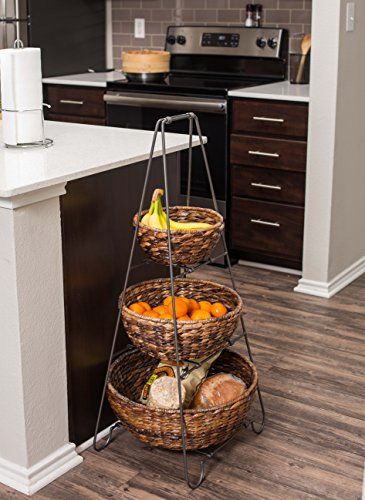 BIRDROCK HOME 3 Tier Metal Shelf with Round Abaca Baskets - Removable Baskets - Decorative Tower - Multipurpose - Easily Stores Household Items - Natural Design