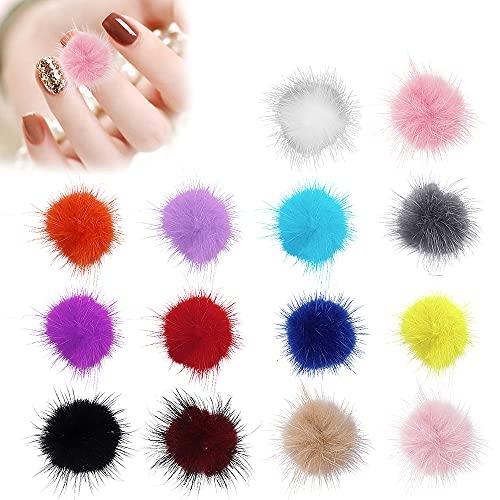 Lionvisone Bolas de felpa esponjosas para uñas,24 bolas de piel sintética de felpa 3D 12 colores con pompón suave desmontable magnética para uñas diseño de uñas consejos de manicura
