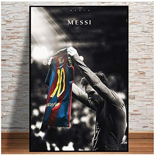 Clásico Lionel Messi Wall Art Football Soccer Super Star Poster Impresión en Lienzo Cuadros de Pared para decoración de Sala de Estar 60x80cm (24x32in)
