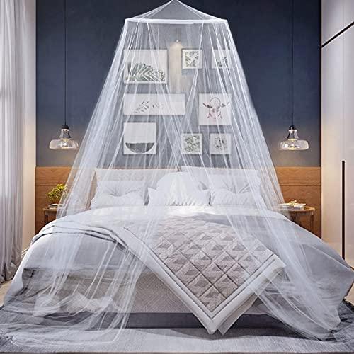 Mosquitera Cama, Mosquito Net Universal de Color Blanco Portátil Mosquitos con Diseño de Cúpula Mosquitera Cama Grande Decorar la Habitación Cunas