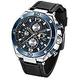 Original Mens Quartz Watch Unique Sport Watches for Men Casual Wrist Watch Waterproof Watch Leather, Luminous Hands, Stop Watch, Calendar, Outdoor, Gifts (Blue 5151)