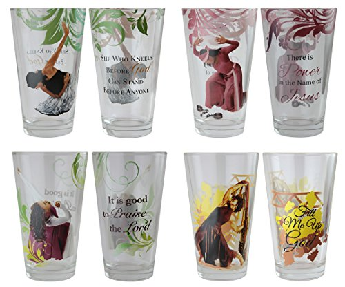 """African American Expressions - Praise Dancers Drinking Glass Set (17 oz. Glass, 5.75"""" x 3.5"""") DGL-01"""