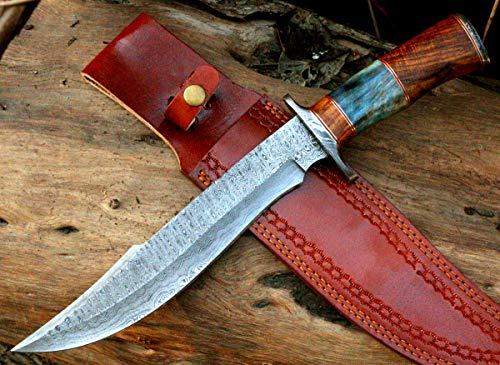 VK Damascus Knife vk3549 Handmade Damascus Steel fixed blade Hunting Knife 15.00 inches Long comes With Leather Sheath