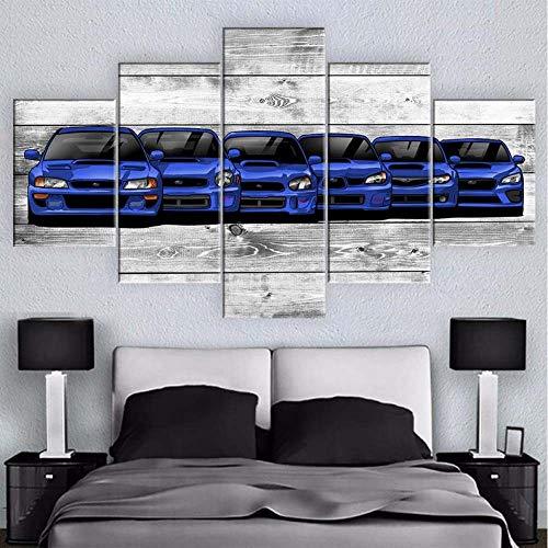 Yywife Subaru Impreza WRX Generatis CarImpression sur Toile 5 Pieces Toile Tableau Decoration Murale Encadré Image Abstraite Créatif Cadeau 150X80 Cm Home...