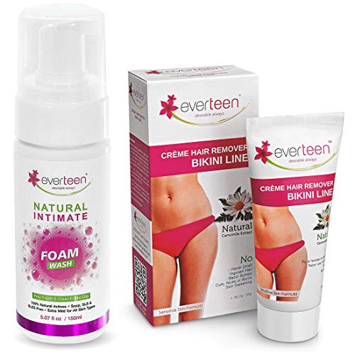 everteen Combo - 1 Bikini Line Hair Remover Creme 50g and 1 Foam Intimate Wash 150ml for Feminine Hygiene in Women