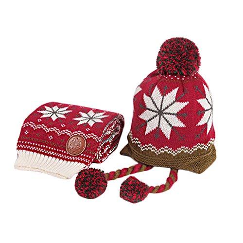 Infant Hiver au Chaud Tricot Beanie Baby Chapeau et écharpe Rouge