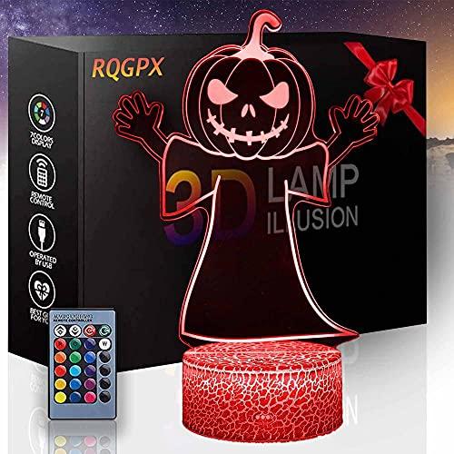 Pumpkin King 3D lámpara óptica ilusión nocturna regalos para niños regalo perfecto para niños y decoración de habitación Darth Vader personajes