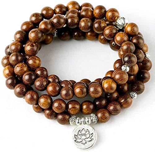 NC188 Pulsera de Cuentas de sándalo Natural de 8 MM para Hombres y Mujeres, Collar con Dije de Lotus Om Wing Buda, joyería Mala 108 Yoga Zen
