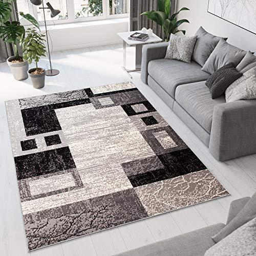 Tapiso Alfombra De Salón Moderna – Color Gris Diseño Borde Cuadrados – Varias Dimensiones S-XXXL 200 x 300 cm
