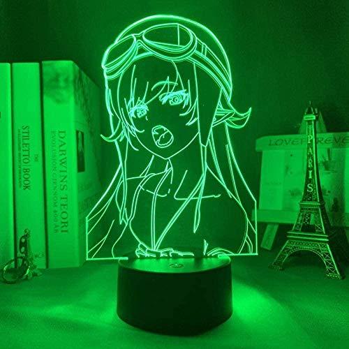 DXJA HCDZF Anime 3D lámpara LED noche luz bakemonogatari Shinobu Oshino para dormitorio decoración regalo colorido noche 3D anime luz 16 colores